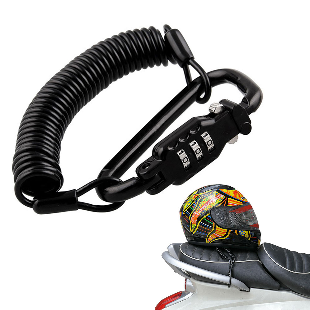 Universal Spring Cable Anti Theft Scooter Accessories Carabiner Portable Protection Motorcycle Helmet Lock Digit Combination
