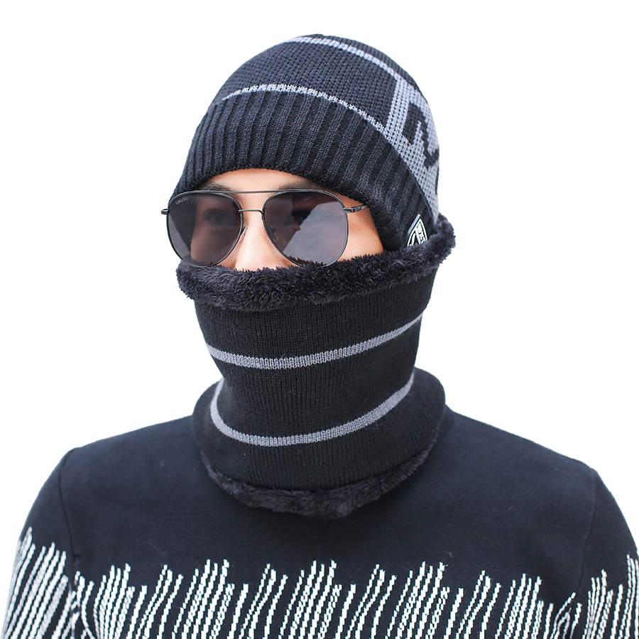 2019 Men's Winter Hat Scarf Set Warm Hats Scarves 2 Pieces Set For Male