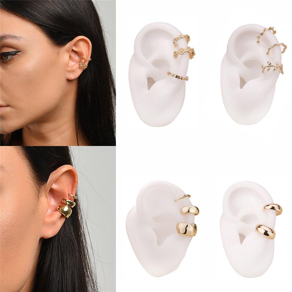 Trendy Gold C-form Ohr Manschette Clip auf Ohrringe für Frauen Mode Einfachen Blatt Earcuffs Set Keine Durchbohrten Knorpel ohrring Schmuck