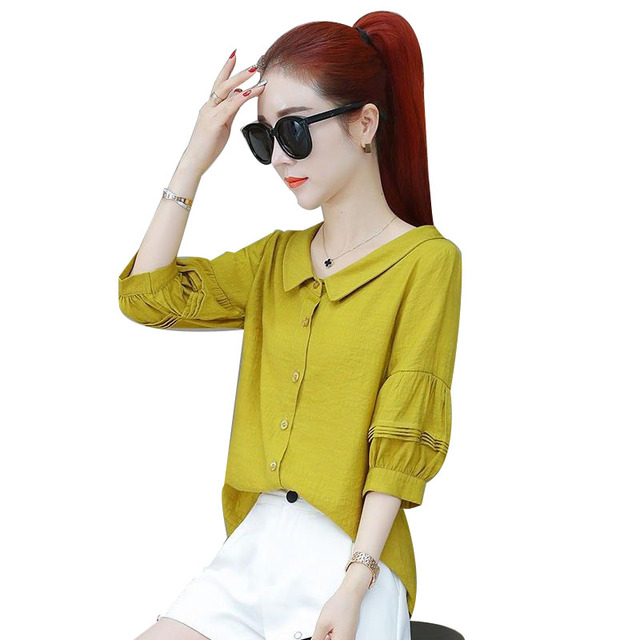Fashion Women Spring Summer Style Blouses Lady Casual Shirt Short Sleeve Peter Pan Collar Women Clothes Blouses Tops DF3324 1