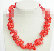"+++906 Genuine 17"" 14mm drop pink coral beads necklace(China)"