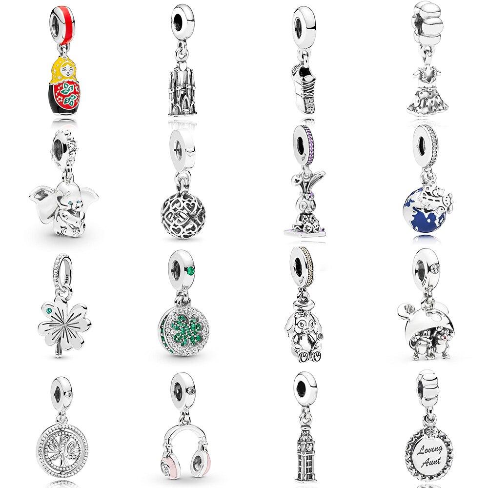 NEW 2019 100% 925 Sterling Silver Dumbo 60 Pink Headphones Dazzling Lucky Pendant Charm Fit DIY Original Women Bracelet Jewelry