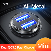 FIVI Mini Car Charger Dual QC 3.0 Quick Charge For Samsung S10 S9 S8 Usb Charger  for Huawei P30 Mate 20 ,xiaomi  All Metal