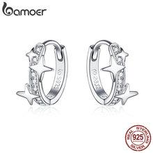 BAMOER, маленькие серьги-кольца, 925 пробы, серебро, прозрачный CZ, Вселенная Галактика, крошечные серьги для девочек, подарки, антиаллергенное ювелирное изделие BSE076