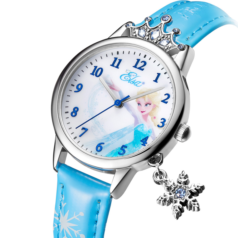 Disney Brand Child Wristwatches Quartz Genuine Leather Waterproof Children Girls Watches Diamond Lovely Princess Frozen Clock