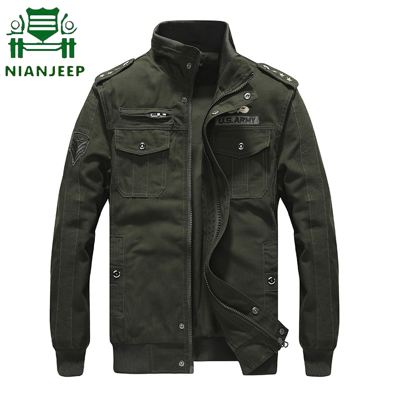 Men Jacket Spring Pilot Us-Army Military Male Autumn Multi-Pocket Plus-Size High-Quality