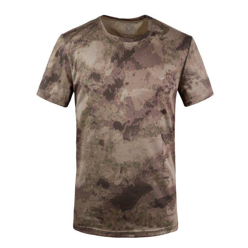 Militar tático t camisa masculina verão secagem rápida respirável o pescoço manga curta de fitness topos algodão camuflagem combate t camisas - 2