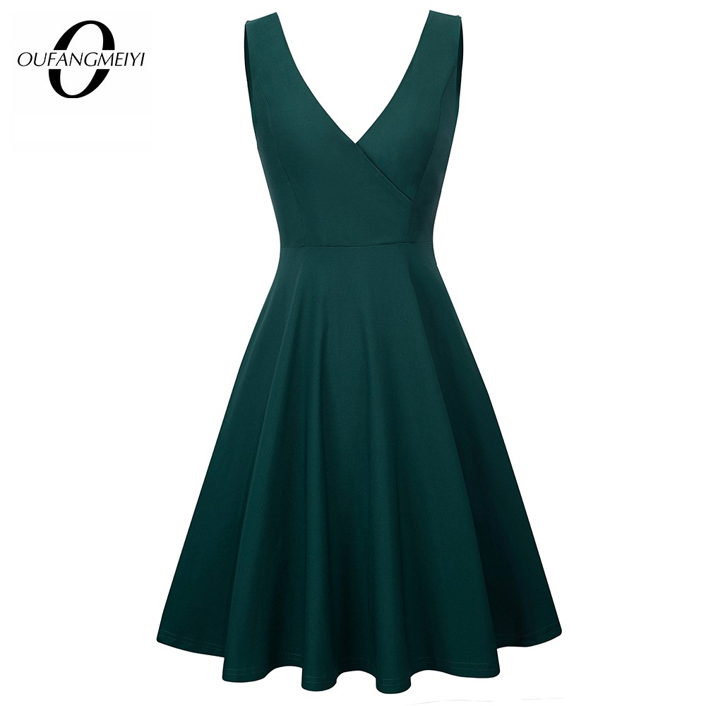 Women Brief Solid Color Elegant Sleeveless Party Dress Sexy V Neck Casual Swing Summer A-line Dress EA087