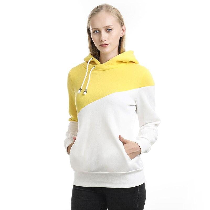 Женские толстовки и худи, женские повседневные Пуловеры контрастных цветов с капюшоном, женские весенние и осенние пуловеры с длинным