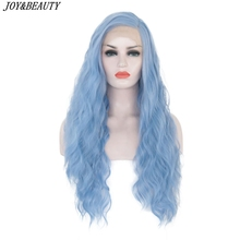 JOY&BEAUTY 26 inch Synthetic Lace Front Wig Sky Blue Long Curly Wigs Heat Resist
