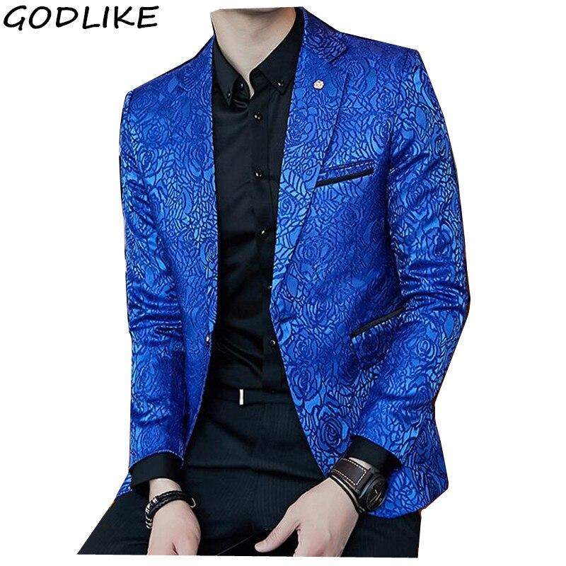 Black Blazer Men 2018 Autumn Slim Fit Mens Casual Blue Blazer Coats Sylish Stage Clothing Party Prom Suit Jacket