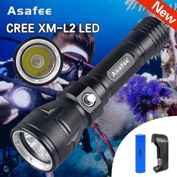 Asafee дайвер факел CREE XML L2 светодиодный водонепроницаемый Дайвинг фонарик погружение под водой 100 м факела Лампа с батареей и зарядным устройс...