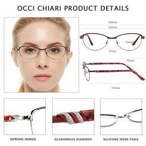 Image 4 - OCCI CHIARI Vintage Metal Computer Anti blue Ray Glasses Women Clear Eyeglasses Frame Cat Eye Diamond Eyewear Mother Gift COMIN