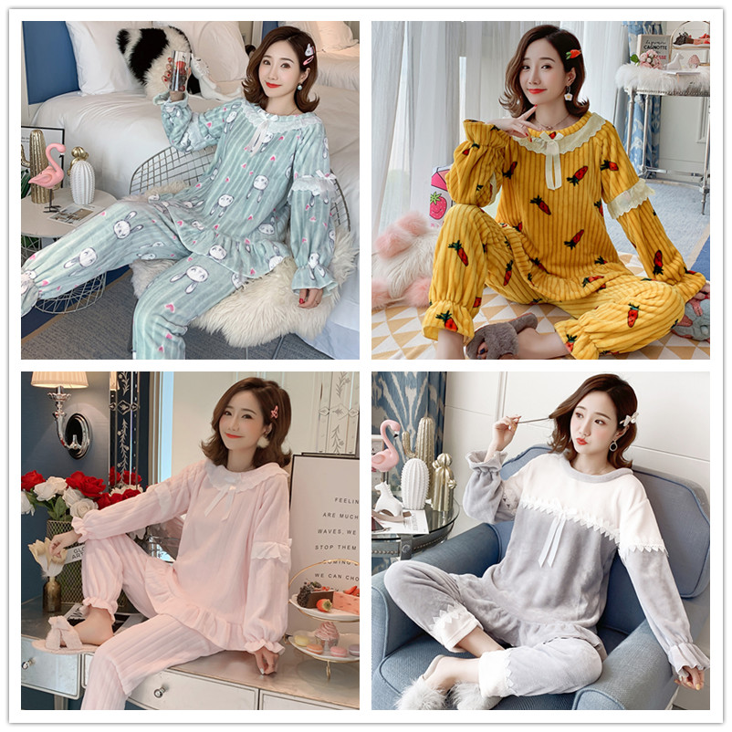 Loungewear Women 2019 Winter Warm Flannel Pajamas Set for Women New Air Cotton Print Christmas Clothes Thicken Home Service 19