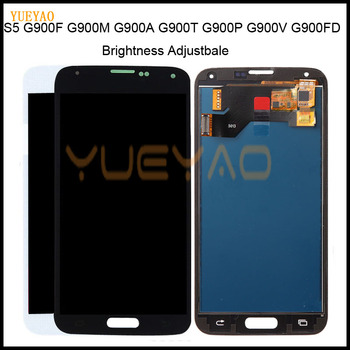 Brightness Adjustbale G900F LCD For SAMSUNG S5 LCD G900F G900M G900A G900T Display Touch Screen Digitizer+Home S5 Lcd Display image
