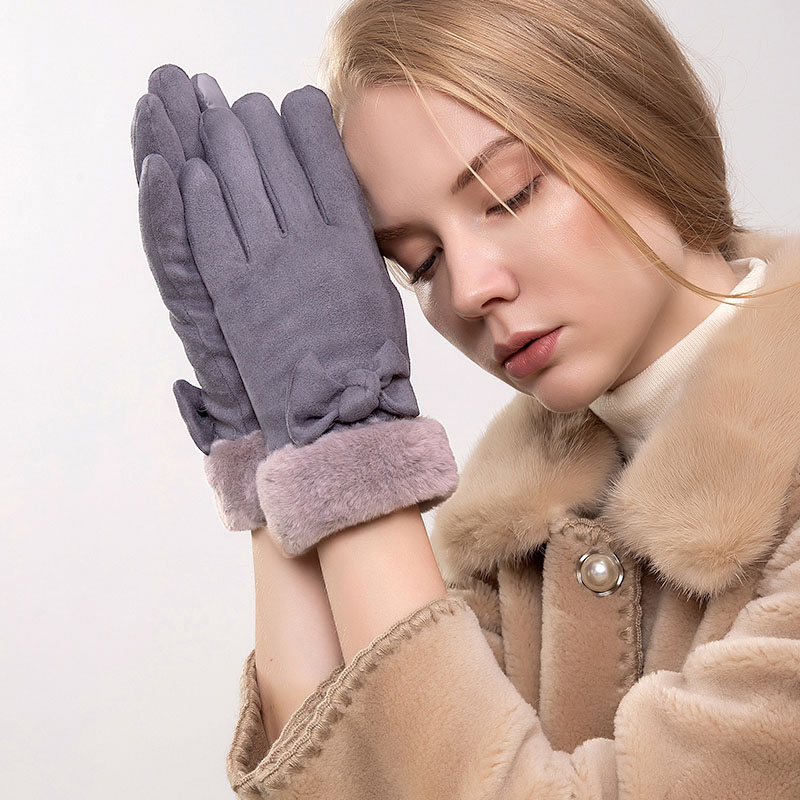 Winter Women Gloves Touch Screen Warm Thick Velvet Lady Full Finger Gloves Windproof Outdoor Driving Bicycle Gloves Gants