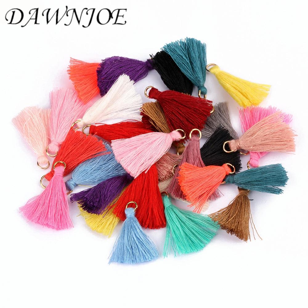 20pcs 3.5 Cm 20 Mix Colorful Cotton Silk Ring Tassel Brush Charm DIY Making Tassels Earring Pendant Jewelry Supplies Findings