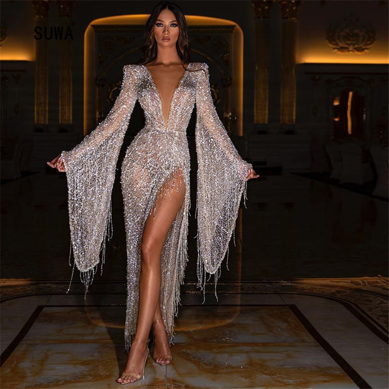 Trendy Sparkling Sequins Tassel High Split Side Maxi Dress Fashion Evening Party Sexy Women Deep V Neck Long Flare Sleeve Robe