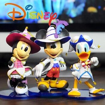 3 Teile/satz Anime Disney Mickey Minnie Action-figuren Amusement Park Donald Ente Puppe Handgemachte Modell Ornamente Kinder Spielzeug Geschenk