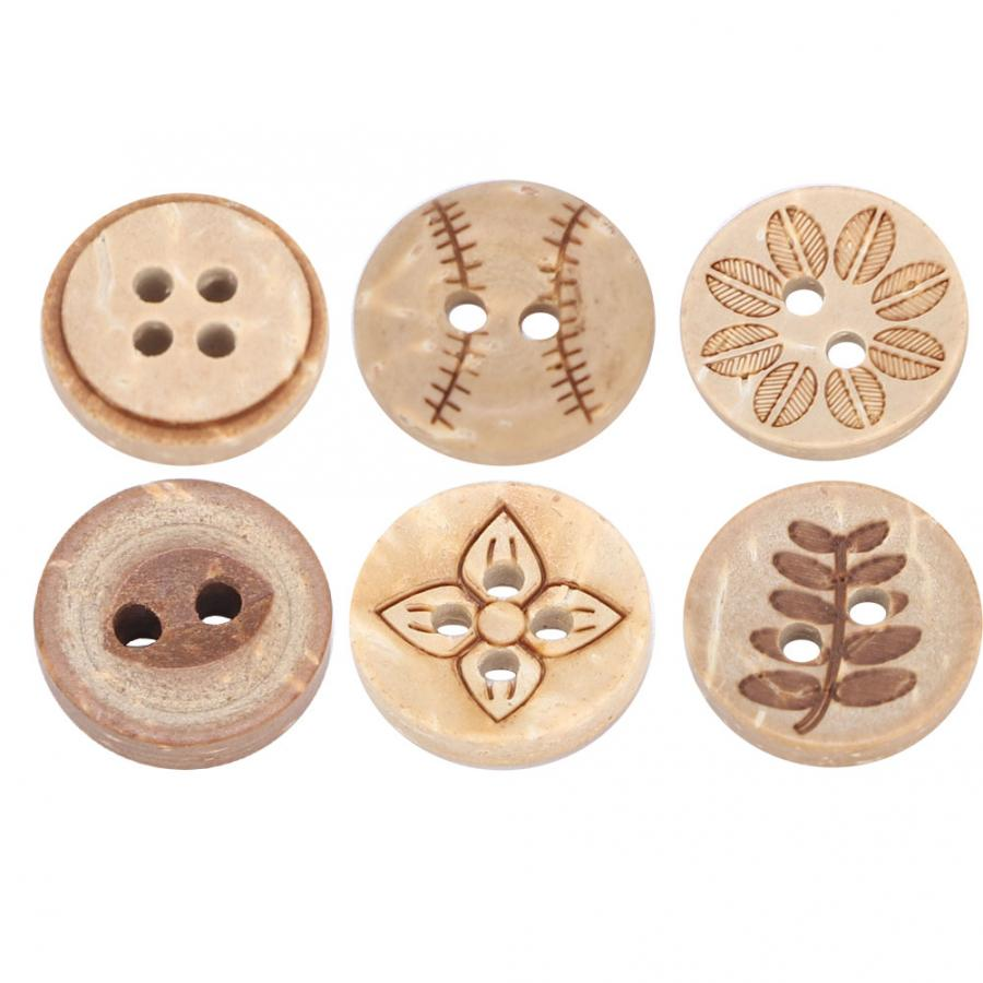 Brown Wooden Buttons Round Hollow Scrapbooking Sewing Crafts Accessories 18mm
