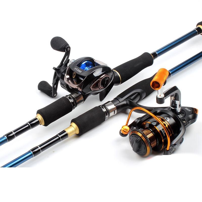 Baitcsting Rod Full Kit Pesca 2 Section M&ML Power Carbon Fiber Casting Spinning Reel Set 100M Fishing Line Lures Hooks Combo