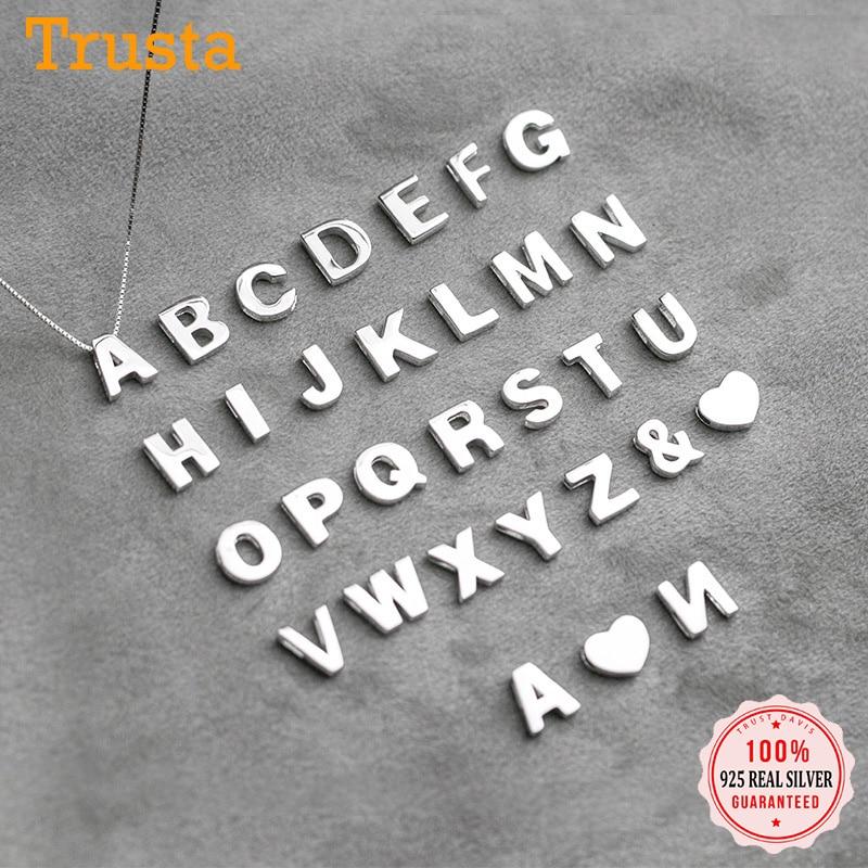 Trust davis réel 925 en argent Sterling Simple 26 anglais lettre pendentif bricolage accessoires pour les femmes de mariage Fine S25 bijoux DA1725