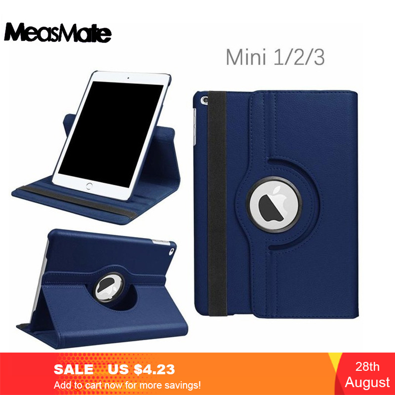 360 Degree Rotating Stand Case Cover For IPad Mini 1 2 3 Case PU Leather Smart Flip Cover