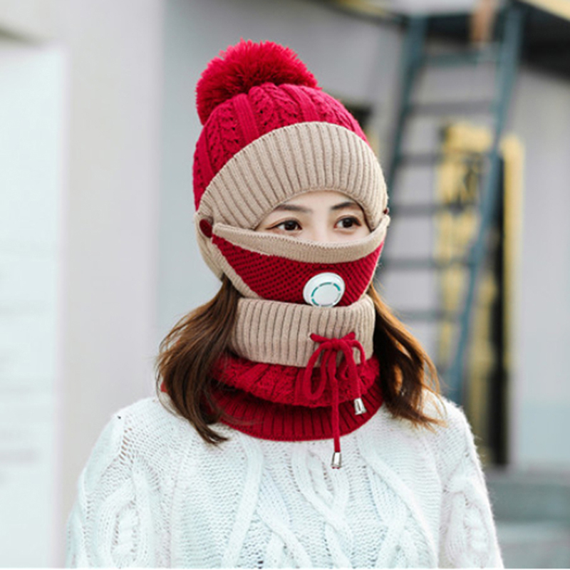 Three-piece Set Of Hooded Hat With Breathing Valve Dust Mask Bib Easy Breathing Warmth And Cold Protection Knitted Hat