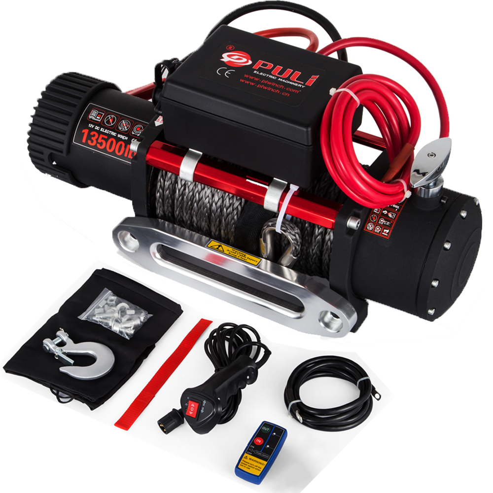 VEVOR 12V 13500LBS Electric Synthetic Rope Winch 6123.5Kg Gear Train Roller Fairlead Electric Winch ATV Recovery Winch