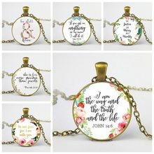 LISTE&LUKE New Bible Verses Necklace Glass Dome Pendant Necklaces Scripture Quote Jewelry Christian Faith Inspirational Gifts(China)