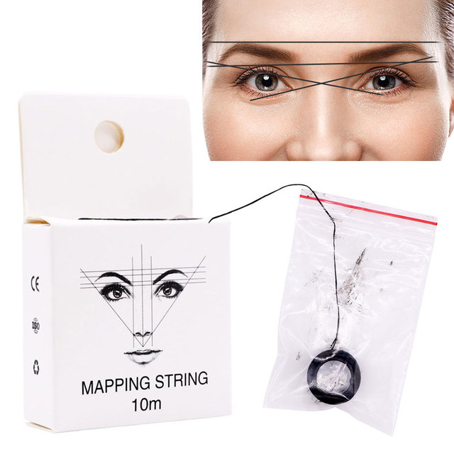 10m 2pcs Tattoo Supplies Positioning Thread Pre Inked Mapping String Line Tool Brows Point Measuring Portable Eyebrow Marker 2