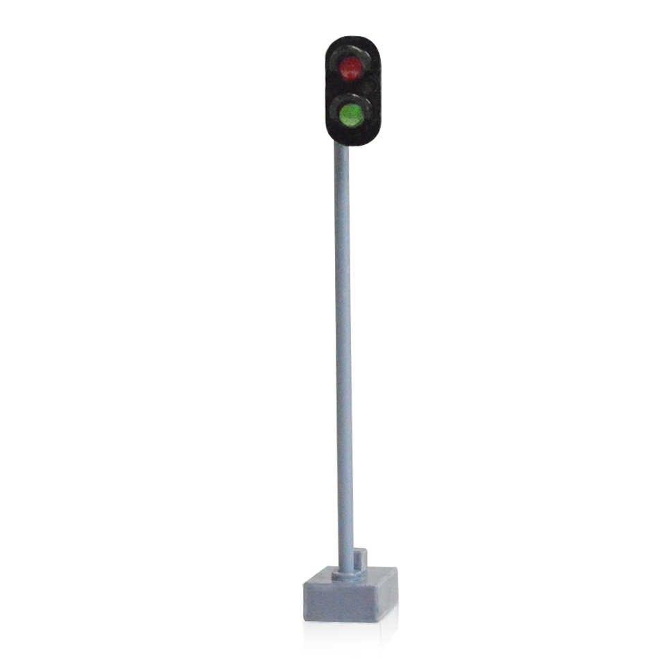 HO 7.5cm sygnału ruchu światła drogowego metal led srebrny i czarny kolor kolei sygnał ruchu światło dla dioramy miniaturowe kolejowe