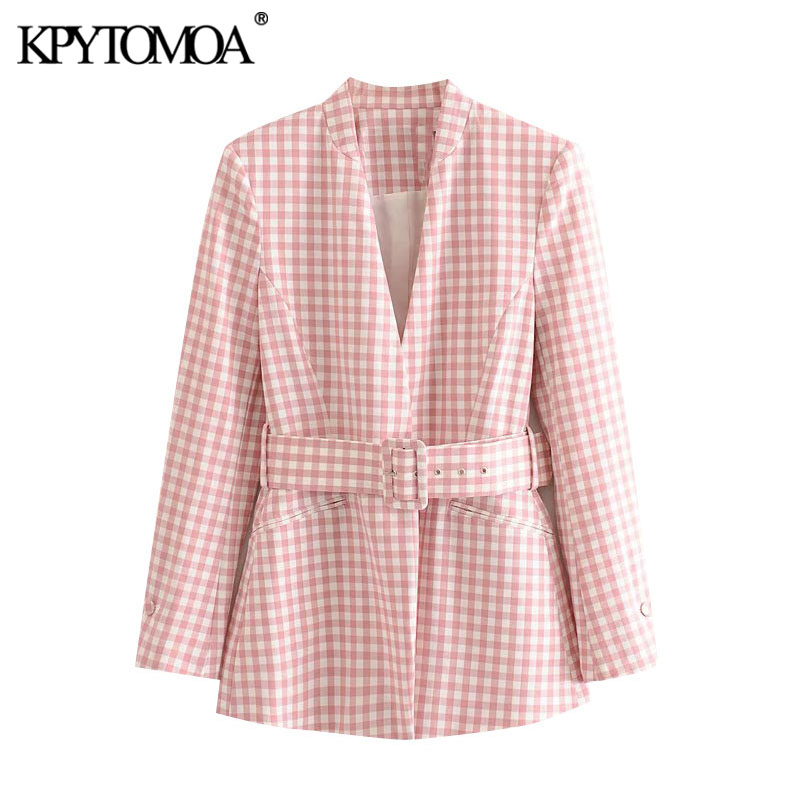 KPYTOMOA Women 2020 Fashion Office Wear With Belt Plaid Blazer Coat Vintage Long Sleeve Pockets Female Outerwear Chic Tops