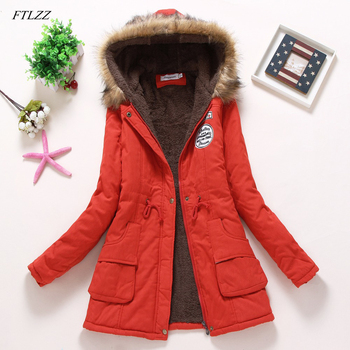 FTLZZ New Winter Coats Women Cotton-wadded Slim Jacket Thermal Warm Parkas Quilt Overcoat Poncho Jaqueta Casacos Feminina 1