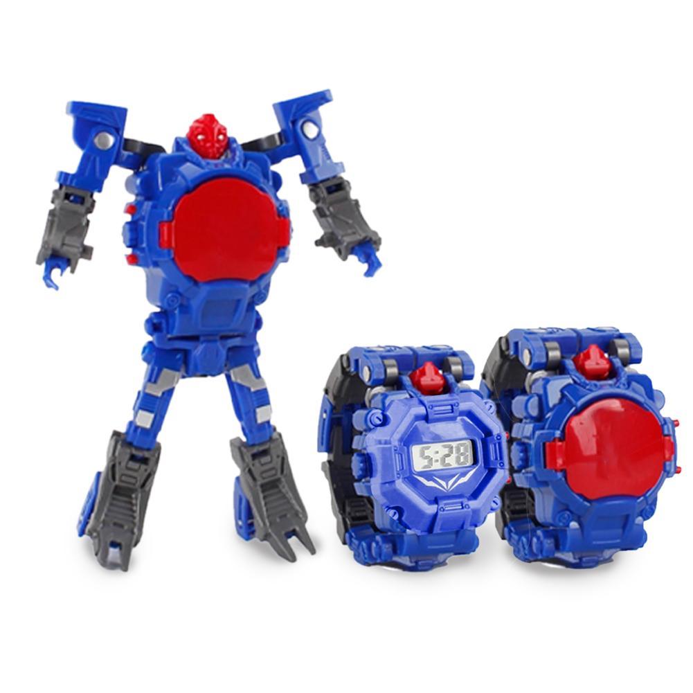 Cartoon Kids Toy Watches Transformation Robot Electronic Watch Deformation Robot 360 Ratation Date Time Adjust Puzzle Toys
