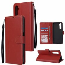 100pcs/lot Solid color Wallet PU Leather +TPU Case For OPPO Realme C3 11 A52 A72 A92