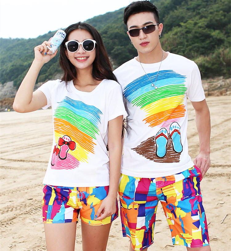 Beach Shorts Couple Clothes Seaside Set Hainan Holiday Travel Men And Women Quick-Dry Swimming Trunks Flower Trunks Large Size P