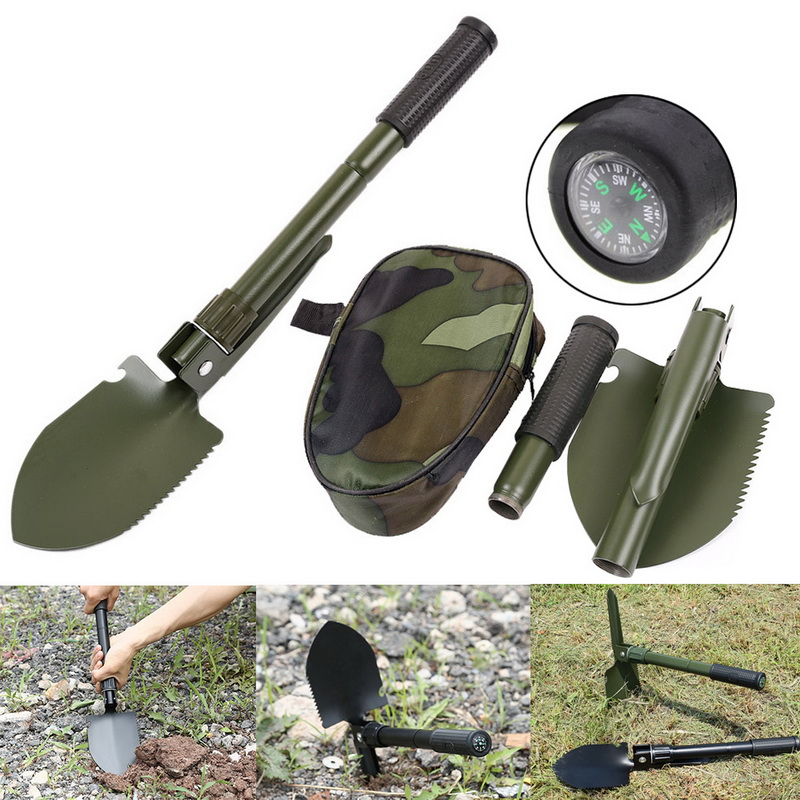 Military Portable Folding Shovel Multifunction Stainless Steel Survival Spade Trowel Garden Camping Outdoor Tool Garden Tools