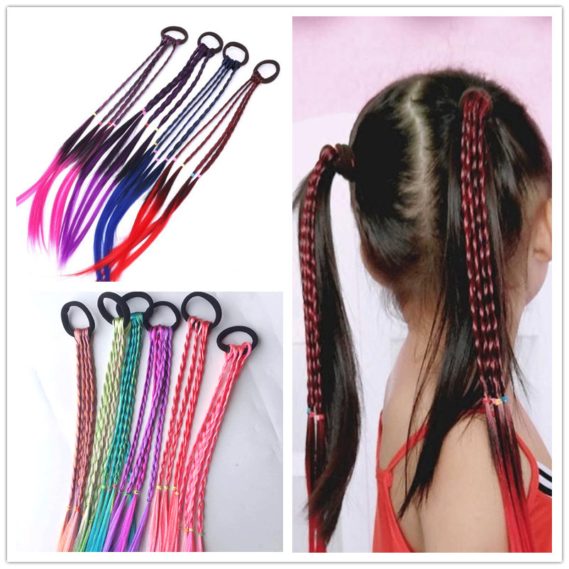 New Girls Elastic Hair Band Rubber Band Hair Accessories Wig Ponytail Headband Kids Twist Braid Rope Headdress Hair Braider