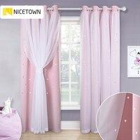 NICETOWN-cortina de oscurecimiento rosa para niña, princesa estrellada, doble sombreado, Sala de Bodas de salón para bebé