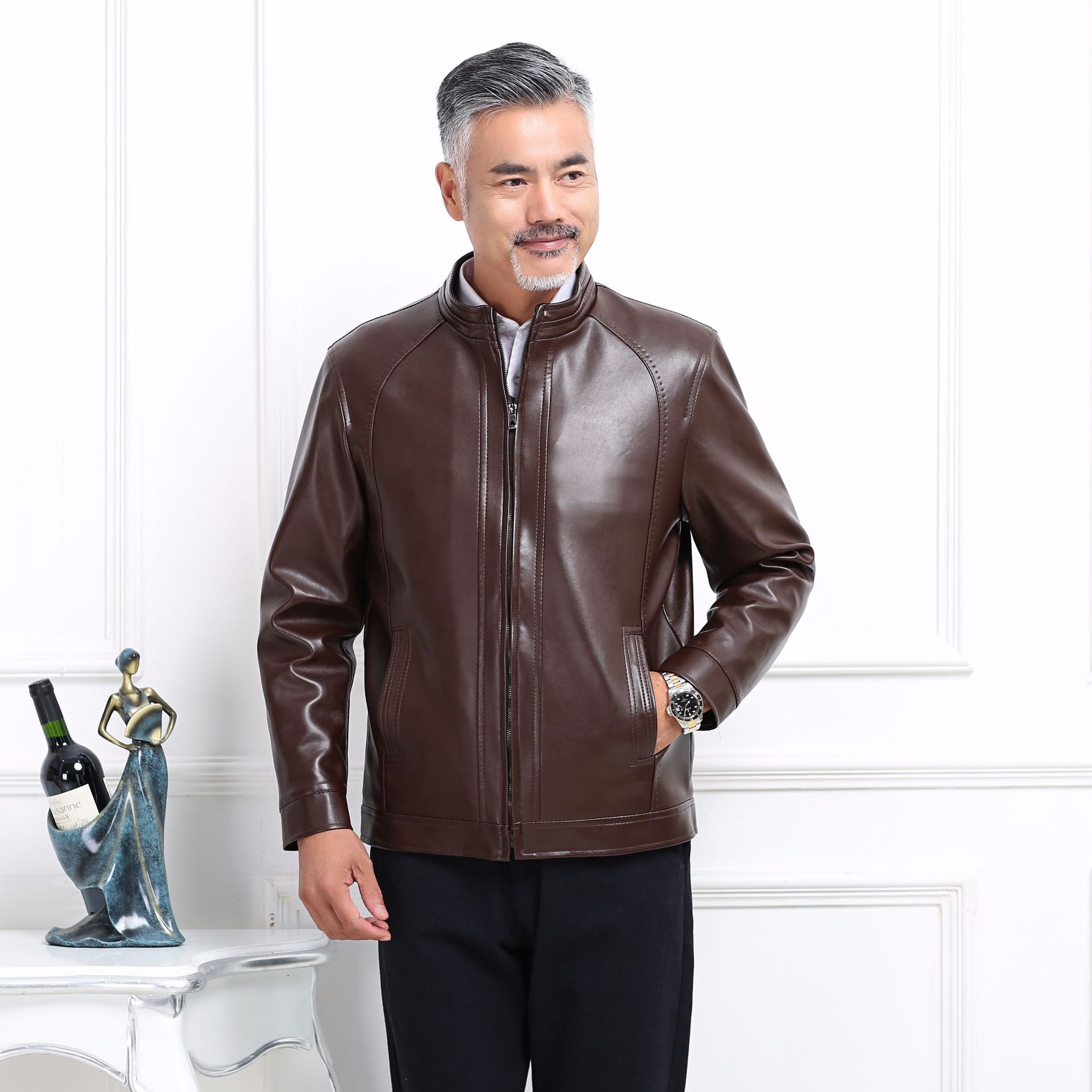 New Style Middle-aged Men Stand Collar Single Lining Cloth Thin PU Leather Leather Jacket Leather Jacket Wander Source
