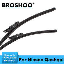 цена на BROSHOO Car Wiper Blades Natural Rubber For Nissan Qashqai J10 J11 2006 2007 2008 2009 2010 2011 2012 2013 2014 2015 2016 2017