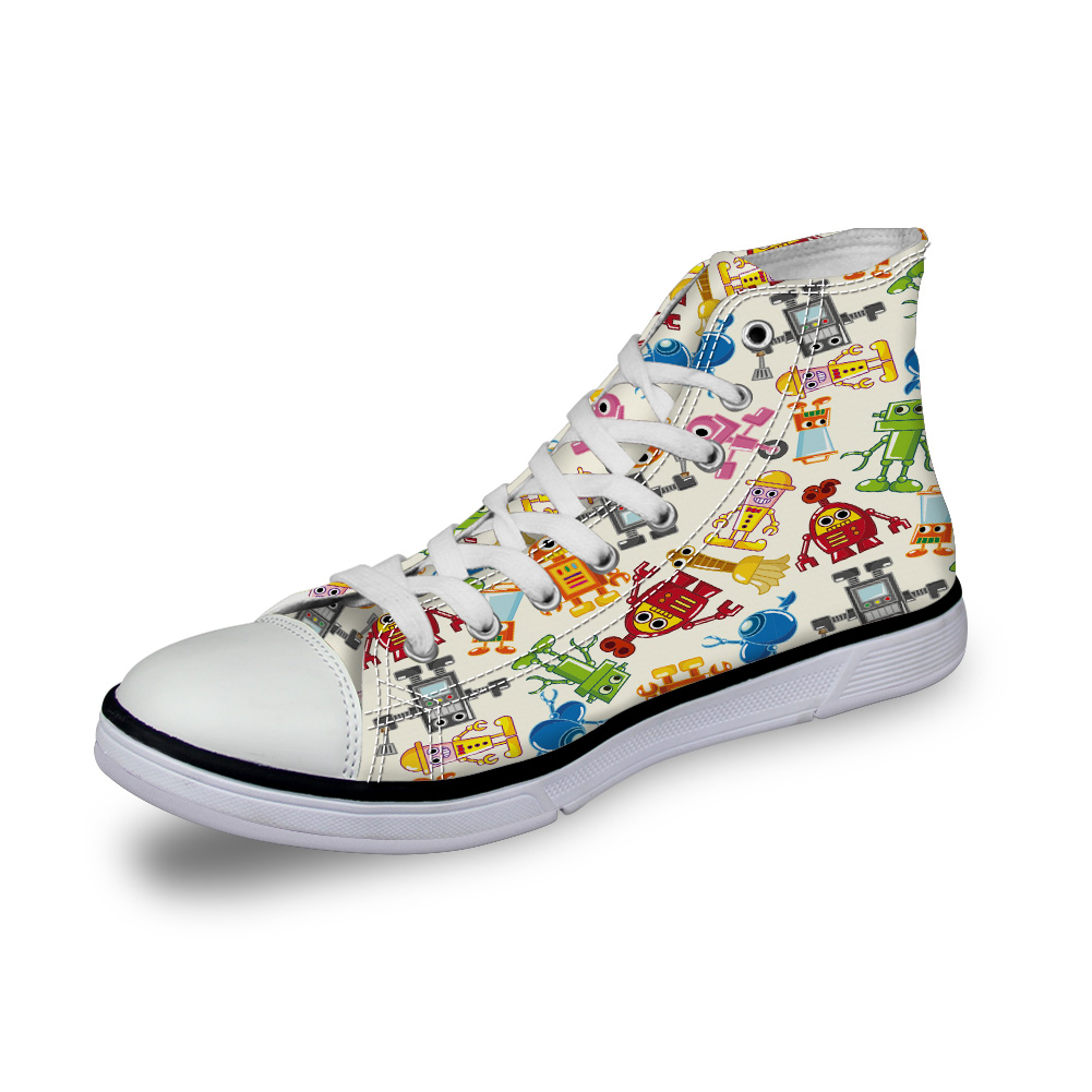 WHEREISART Women Canvas Shoes Colorful Cartoon Robot Kids High Top Flats Unisex Vulcanized Shoes Female Casual Shoes Sneakers