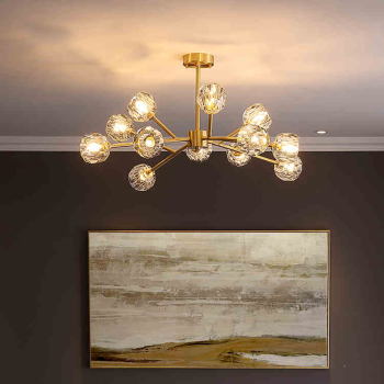 Postmodern American copper Crystal chandelier lighting and Luxury Dining Room lustre Magic Bean Molecular hanging Lamps lustres