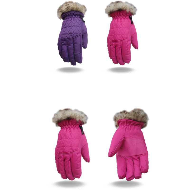 Women Kids Winter Waterproof Ski Gloves Fluffy Plush Anti-Slip Thermal Insulated Sport Cycling Snowboard Mittens Wrist Warmer