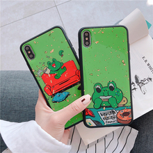 Happy music cute little frog mobile phone case for iPhone XS Max XR X 6 6S 7 8 Plus cartoon big head silicone
