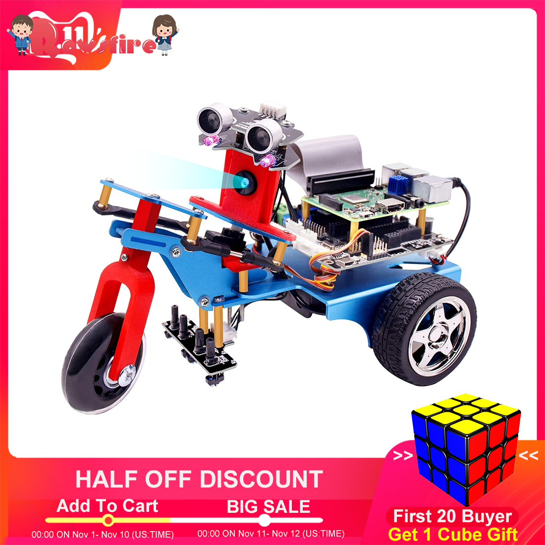 TrikeBot Smart Robot Car Programmable Learning With HD Camera Video DIY Robot With Detailed Electronic Tutorial For Kids Adults