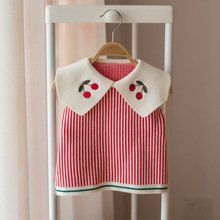 Осенний вязаный Трикотажный жилет для маленьких девочек, стиль, жилет, свитер в полоску без рукавов для маленьких девочек, 1140