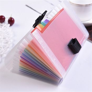 A6 Plastic Portable File Folder Extension Wallet Bill Receipt File Sorting Organizer Office Storage Bag Folders Filing Products 1
