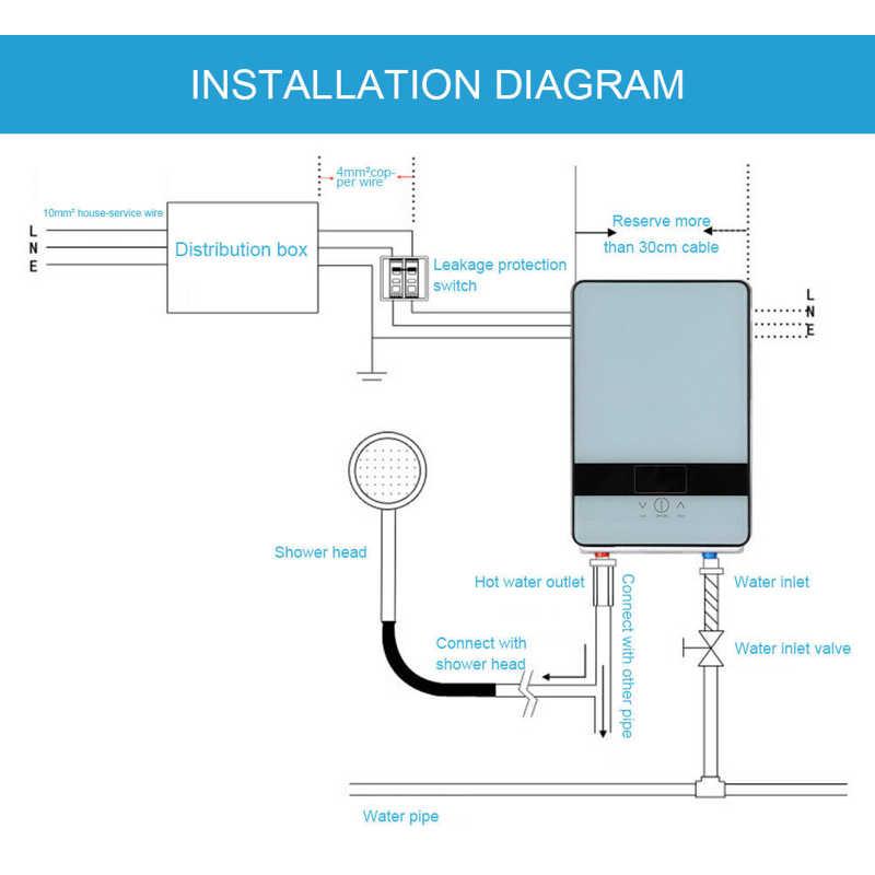 Электрический водонагреватель 6500 Вт светодиодный дисплей сенсорное